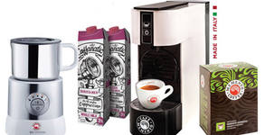 """Сет за капучино """"Love cappuccino love you"""" - машина, капучинатор, 10 капсули и 2л специално мляко, плюс безплатна доставка"""