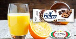 Половин литър фреш от портокал и зърнен десерт Nestle Fitness