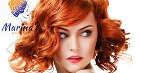 Боядисване на коса с боя на клиента, плюс нанасяне на ампула и оформяне със сешоар