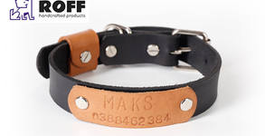 Кучешка кожена каишка с персонален надпис, в цвят по избор