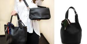 Дамска черна чанта SyStyle Paris Bucket 2in1 с декоративно шалче и подвижен клъч