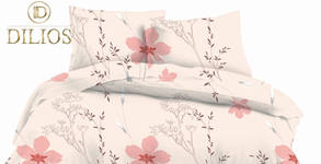 Единичен или двоен спален комплект от памучен сатен, десен по избор