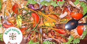 1200гр апетитно хапване! Плато със свинско и пилешко месце на скара, плюс картофки соте