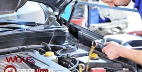 4 литра двигателно немско масло Wolf 10 W 40, маслен филтър и подмяна, плюс пълна проверка на автомобила