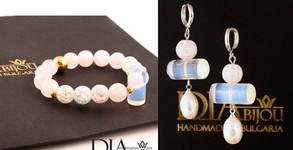 Ръчно изработена гривна или обеци Moon Lights с естествени камъни