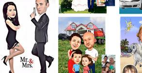 Рамкирана дигитална карикатура или шарж за до четирима - по снимка на клиента