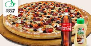 Комбо меню с фамилна пица Асорти, сос Аладин и 1.5л Coca-Cola - с безплатна доставка