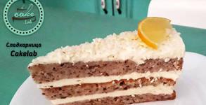 Парче лимонова торта, плюс кафе Tezzoro