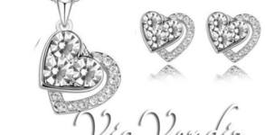 """Колие и обеци """"Две сърца"""" - с австрийски кристали и 18К златно покритие"""