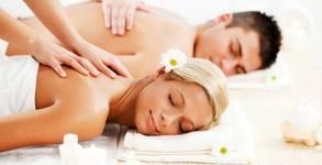 Синхронен масаж на цяло тяло, точков масаж на глава и лице и рефлексотерапия, плюс плодова салата и вино
