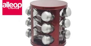 12 стъклени бурканчета за подправки на стойка Zephyr ZP, с въртяща се основа