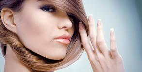 Премахване на цъфтящи краища с полировчик и оформяне на косата с кератинова преса