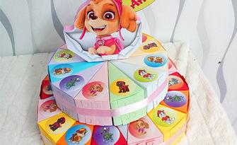 За партито на детето! Картонена торта на 2 етажа - с 24 или 32 парчета и декорация по избор, от Ателие Офисто