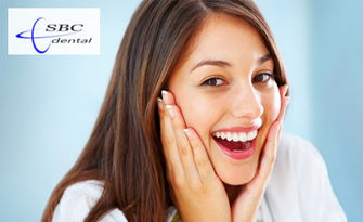 До 8 нюанса по-бели зъби! Избелване с LED лампа, почистване на зъбен камък и плака и полиране, от SBC Dental