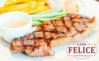 1.5кг хапване за вкъщи! Свинско на пещ или пилешки панирани филенца, плюс картофки и салата, от Casa Felice - Роза