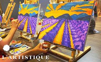 Арт забавление! 3 часа рисуване върху платно с напътствия от художник, плюс чаша вино, от L'Artistique Paint Atelier