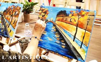 Намери скрития у теб творец! 3 часа рисуване върху платно с напътствия от художник, плюс чаша вино, от L'Artistique Paint Atelier