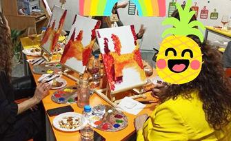Творческа вечер! 2 часа и 30 минути рисуване под напътствията на професионален художник, плюс чаша вино, от Арт ателие Уча Ленд