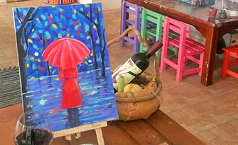 """Творческа вечер! 3 часа рисуване с акрилни бои върху платно, плюс чаша вино, от Художествено ателие """"Нарисувай сам"""""""