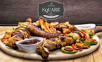 Пилешки шашлик на барбекю с пържени картофки, от Tavern Square