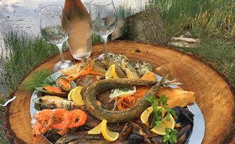 2.6кг Лукс плато! Лаврак, зарган, сафрид, филе от треска, фагри, гопа, кралски скариди и миди, от Рибен ресторант Наслука