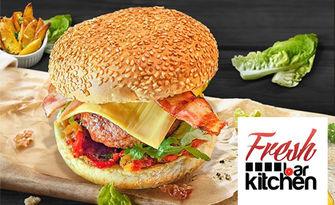 Вкусен бургер по избор - пилешки, телешки, веджи или чийз, плюс картофи на барбекю и Шопска салата, от Fresh Bar Kitchen