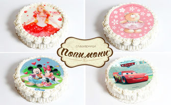 Вкусно и забавно! Детска торта с млечен крем и любим герой по избор, от Сладкарници Попимони