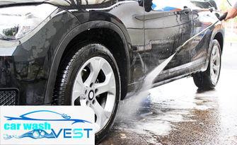 Външно и вътрешно измиване на лек автомобил, плюс нанасяне на вакса и препарат Rain Off върху предното стъкло, от Автомивка Vest