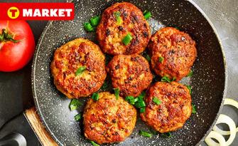 Апетитно хапване за вкъщи! 3 броя пържени кюфтета премиум и печени бейби картофи със самардала, от Верига супермаркети T MARKET