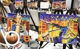 Творческа вечер! 3 часа рисуване с професионален художник, плюс чаша вино, от BeArt