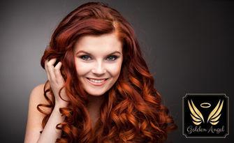 Боядисване на коса с боя на клиента, плюс измиване, маска, подстригване и оформяне, от Салон Golden Angel