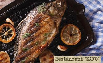 Рибно плато с пържени сафрид, скорпид и картофки, от Сръбски ресторант Зафо