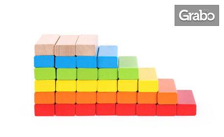 Цветна дженга Pino с дървени блокчета