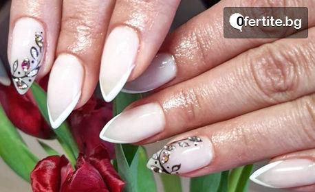 Изграждане на нокти с гел, лакиране с гел лак и 2 декорации