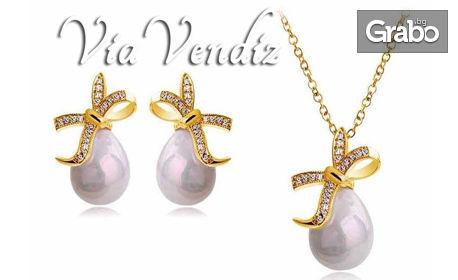 "Комплект бижута ""Перлена капка""! Колие и обеци с австрийски кристали и златно покритие"
