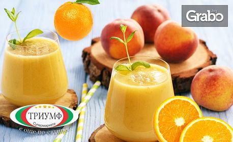 Половин литър фреш от праскова и портокал