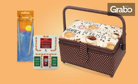 Луксозна шивашка кошница с 30 игли асорти, вдевачка и обръч за плетене