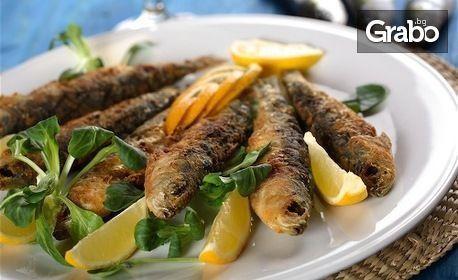 Пържен сафрид, или пържен калмар по критски със средиземноморски сос