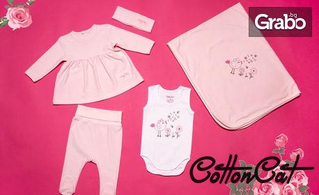 Бебешки комплект за момиче с пелена, рокля, боди, ританки и лента