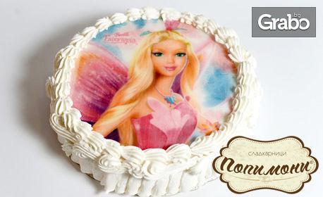 Детска торта с млечен крем и любим герой по избор