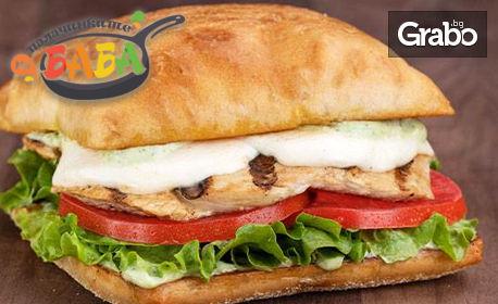 Чабата сандвич по избор, плюс палачинка с 3 добавки