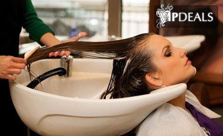 Терапия за коса с хиалуронова киселина и екстракт от водорасли, плюс оформяне - без или със брюлаж