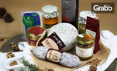 Празничен подаръчен комплект по избор - с вино, айвар, деликатесни колбаси и ръчно приготвен шоколад