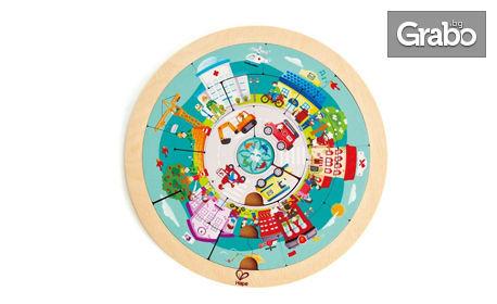 """Дървена играчка Hape с качество от Германия! Двулицев образователен пъзел """"Работни места"""""""