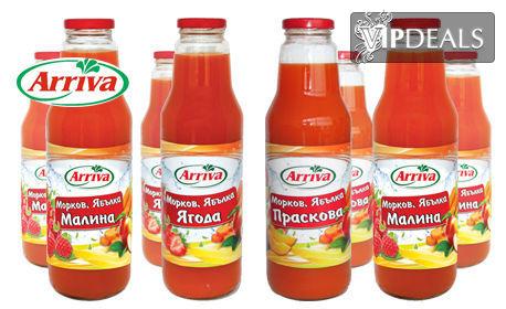 8 бутилки натурален сок Arriva