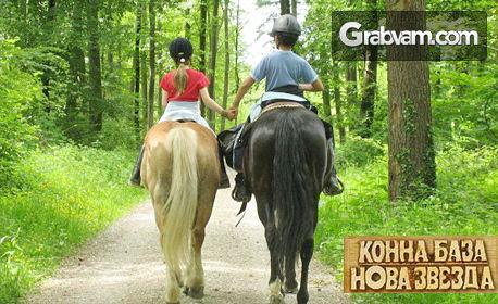 30 минути урок по конна езда на манеж или разходка с кон в планината - с инструктор