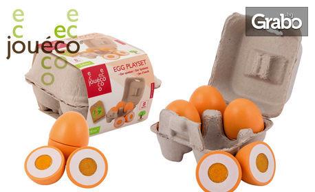 4 дървени яйца Jouéco