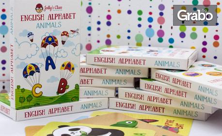 """30 броя образователни карти English Alphabet """"Animals"""" за деца от 4 до 10 години"""