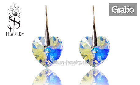 """Сребърни обеци """"Heart"""" с кристали Swarovski в цвят по избор"""