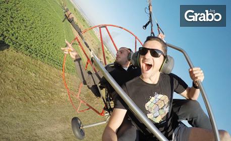 Тандемен полет с двуместен моторен парапланер, плюс заснемане с 4K Action камера